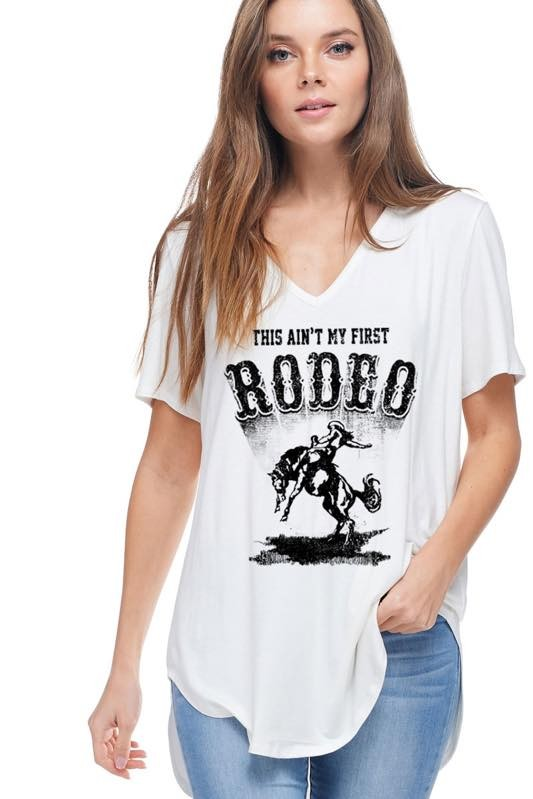 Rodeo Graphic Basic Long Tee in Ivory