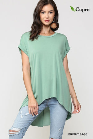 Back Slit Cupro Top in Sage