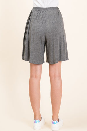Grey Elastic Waist Shorts with Pockets