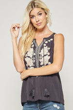 Sleeveless Top w/ Front Embroidery in Navy