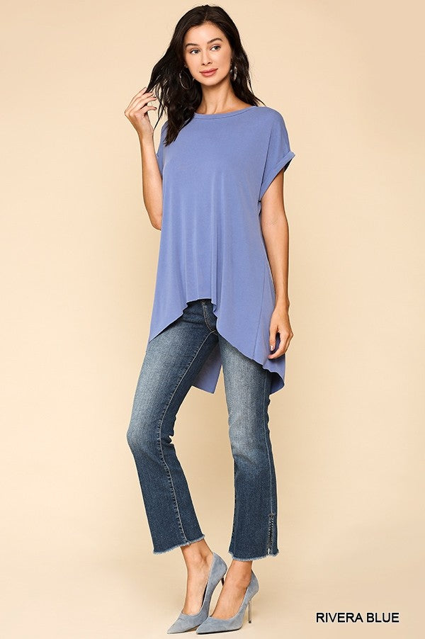 Back Slit Cupro Top in Rivera Blue
