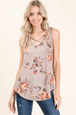 Taupe Floral Sleeveless Top