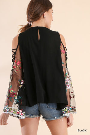 Crossed Open Shoulder Top with Floral Embroidery in Black
