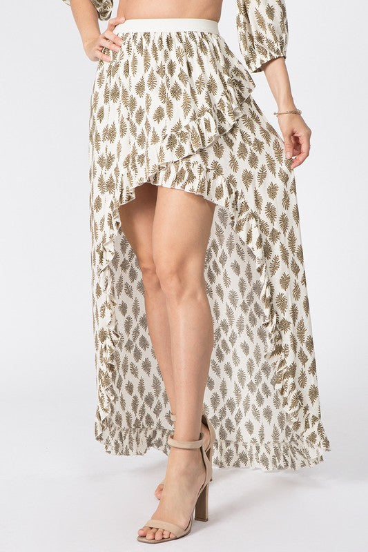 High Low Ruffle Maxi Skirt in Beige