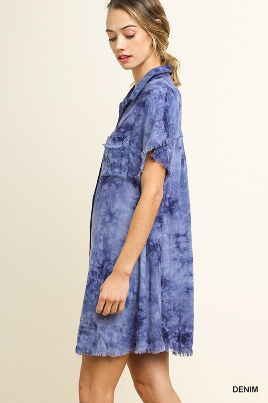 Tie Dyed Short Sleeve Button Up Dress in Denim