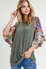 Short Raglan Sleeve Top in Olive - tempting-teal-boutique