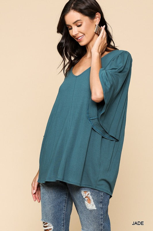 Flutter Sleeve V Neck Top in Jade - tempting-teal-boutique