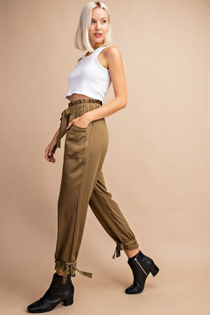 Elastic Waist Jogger Pants in Olive - tempting-teal-boutique