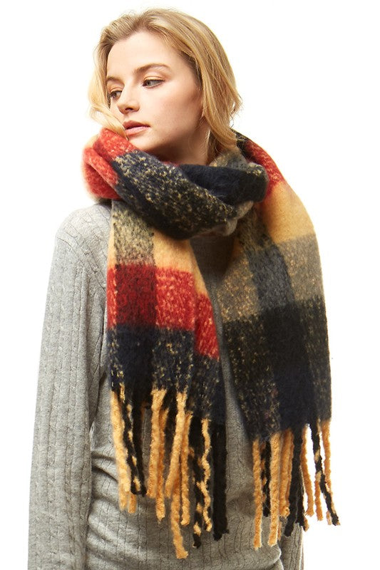 Multi Color Plaid Oblong Fuzzy Scarf