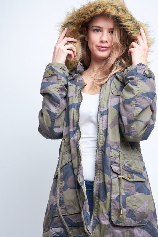 Camouflage Cotton Jacket with Hood in Army Green - tempting-teal-boutique