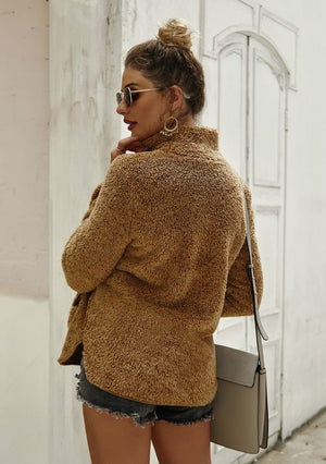 Furry Pullover Cowl Neck Sweater in Camel
