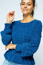 Shirred Chenille Knit Sweater Top in Blue