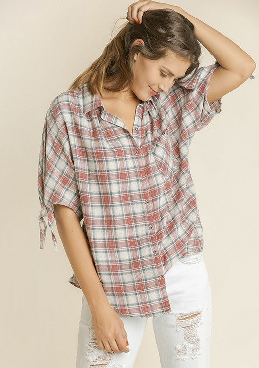 Button Up Shirt w/ Open Sleeve in Mauve