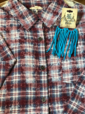 Distressed Oversized Button Down Plaid Top