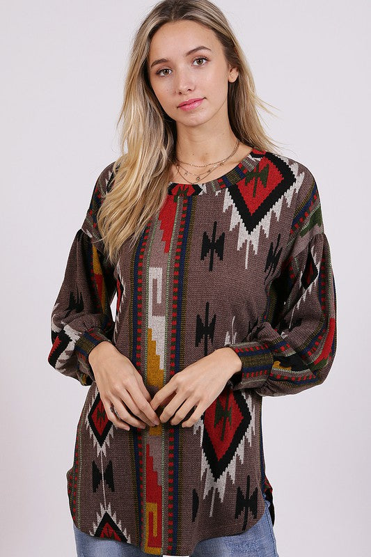 Aztec Print Long Sleeve Sweater w/ Puff Sleeves
