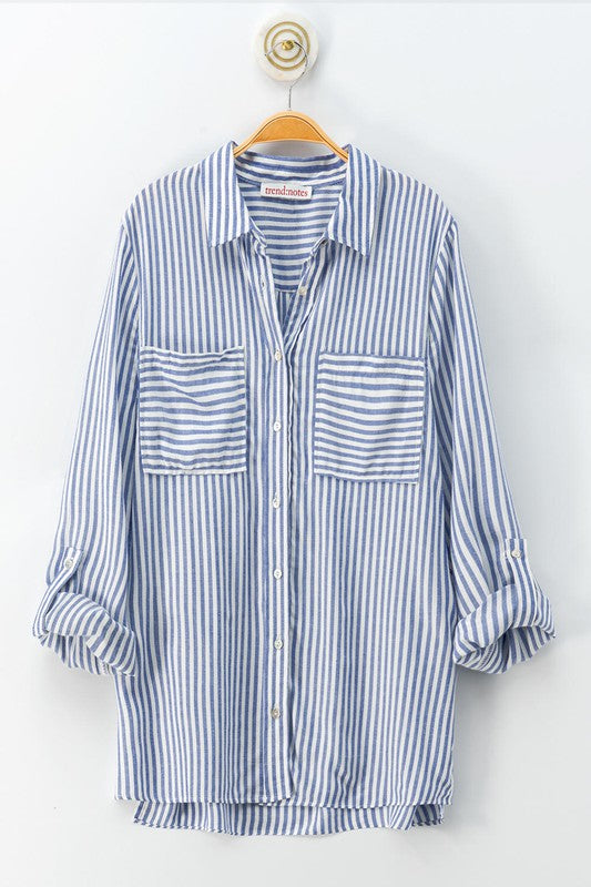 Striped Button Down Long Sleeve Shirt in Blue