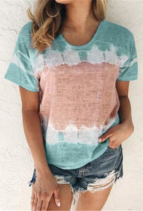 Tie Dye T-Shirt top in Mint and Rose