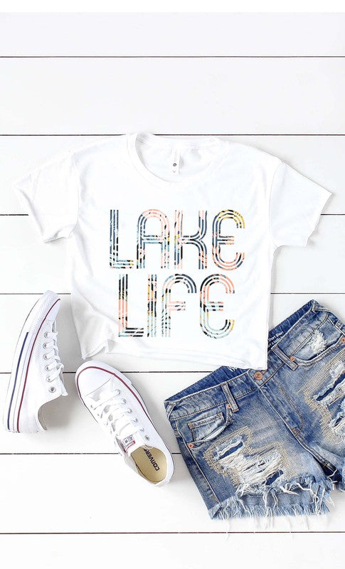 Lake Life Crop Top in White
