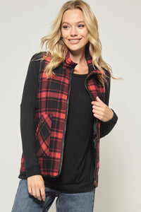 Quilted Zip Up Red Plaid Vest