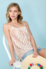Velour Stripe Tank Top with Thin Spaghetti Straps in Champagne - tempting-teal-boutique
