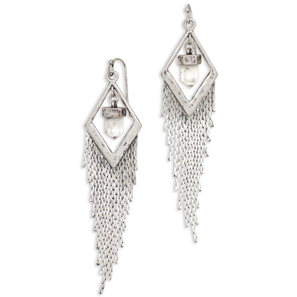Crystal Drifter Earrings in Silver