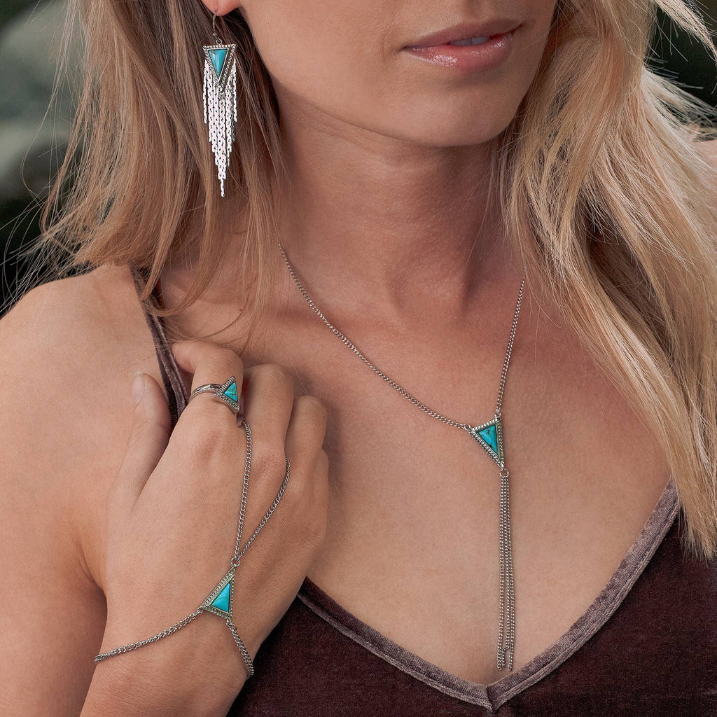 Triko Y Necklace in Silver w/ Turquoise