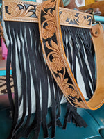 Black and White Cowhide Bag with Black Fringe & Leather Embossed Strap