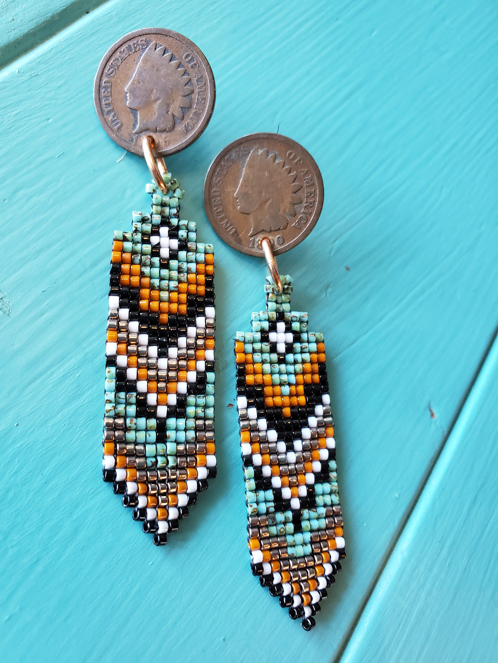 Indian Penny Stud Earrings w/ Loom Beadwork
