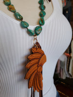 Kingman Turquoise Necklace w/Headress and Tassels