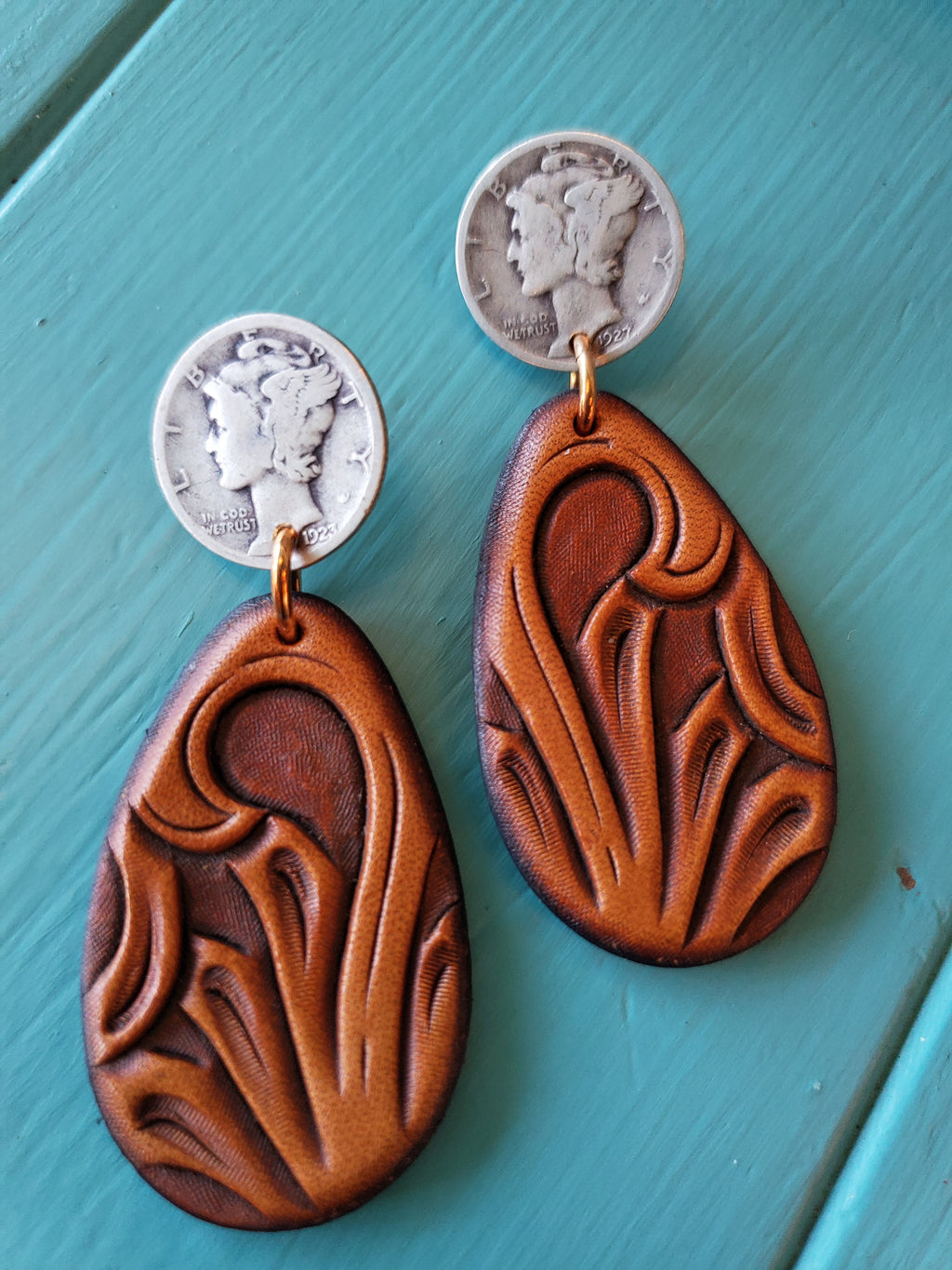 Mercury Dime Stud Earrings w/ Tooled Leather Pendents