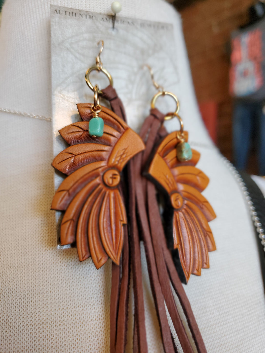 Leather Headress Earrings w/ Tassels