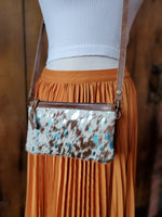 Brown and White and Turquoise Cowhide Crossbody