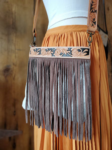 Brown and White Cowhide Bag with Brown Fringe and Leather Embossed Strap