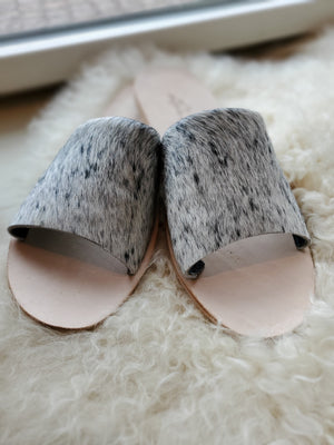 Nadia Flat Cowhide Flat/Slides in Salt & Pepper - tempting-teal-boutique