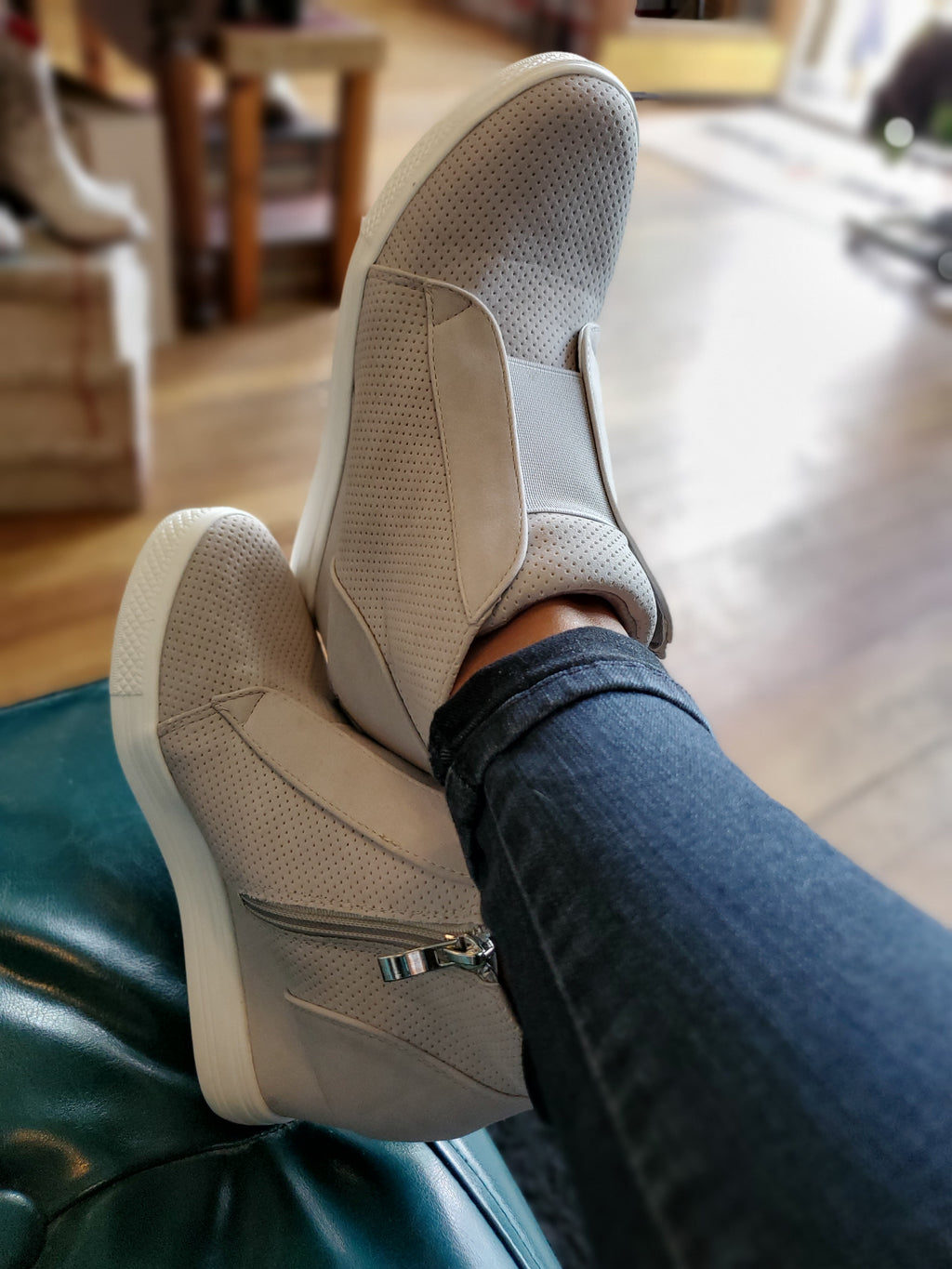 Zoey Wedge Heel Sneakers in Grey