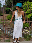 Spaghetti Stap Midi Linen Dress in Ivory w/ Pockets