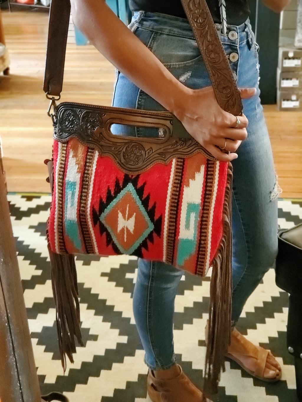 Aztec Saddle Bag w/ Tooled Leather Detail - tempting-teal-boutique