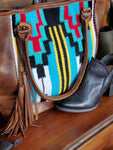 Yellow and Blue Aztec Saddle Bag w/ Leather Back - tempting-teal-boutique