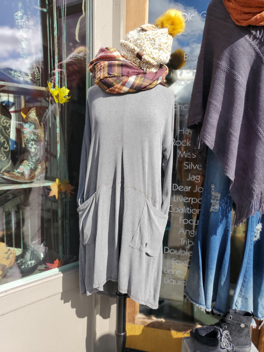 Loose Fit Dress/Tunic in Gray - tempting-teal-boutique