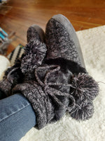 Cable Knit Furry Slipper Boots w/ Pom Pom - tempting-teal-boutique