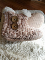 Hand Knit Slipper Boots w/ Buttons - tempting-teal-boutique