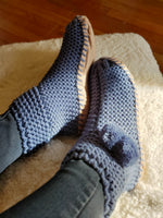 Hand Knitted Garter Stitch Slipper Sock in Denim - tempting-teal-boutique