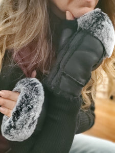 Black Shearling Rabbit Fur Gloves