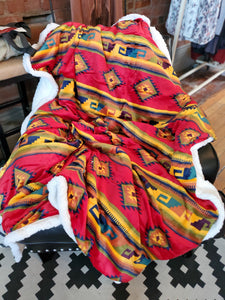 Reversible Soft Touch Sherpa Blanket in Aztec Yellow