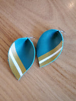 Teal Teardrop Leather Earrings w/ Painted Design