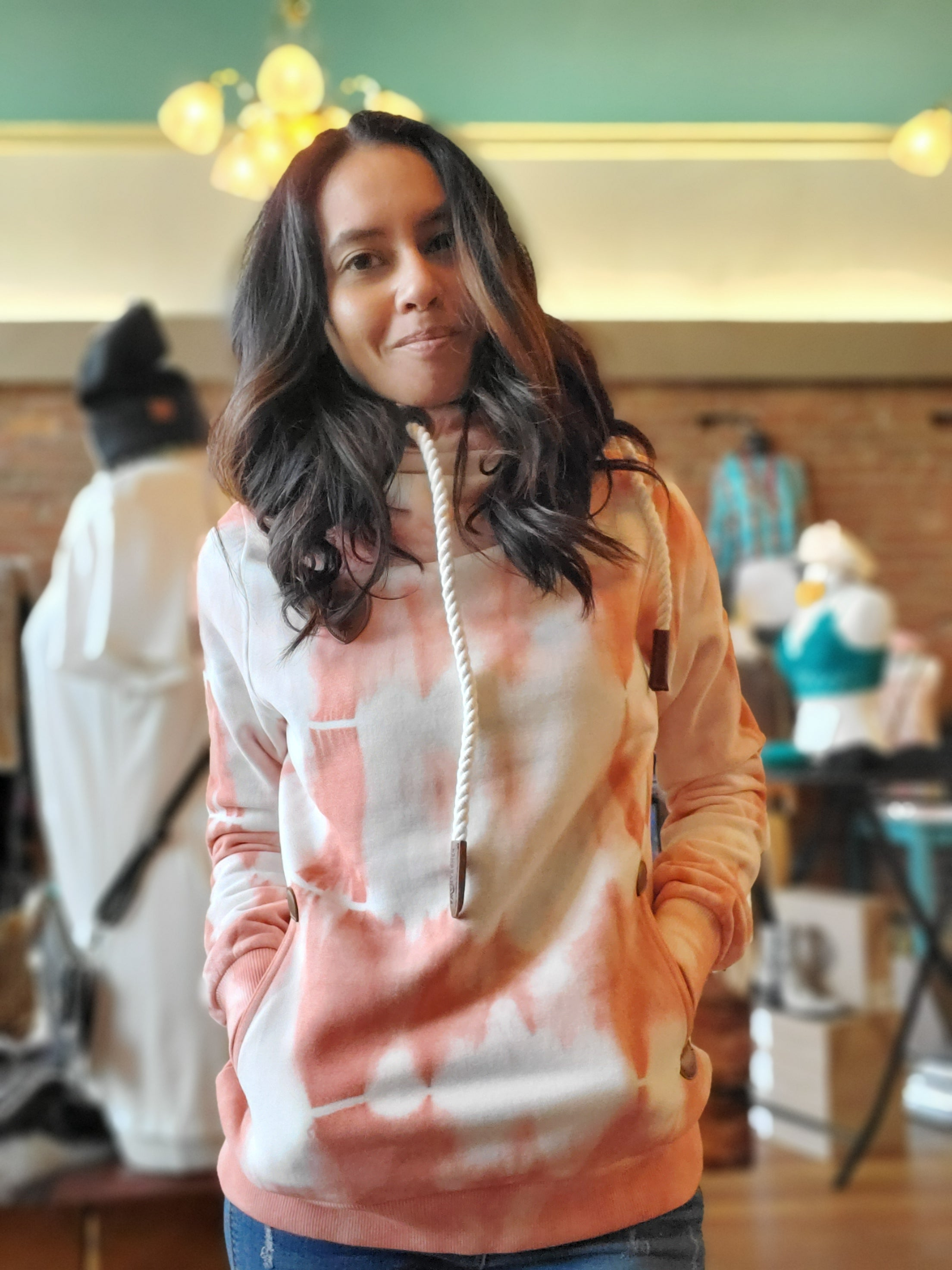 Wanakome Artemis Tye Dye Hooded Sweatshirt in Peach