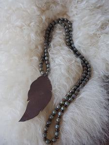 Turquoise Bead Necklace w/ Leather Feather