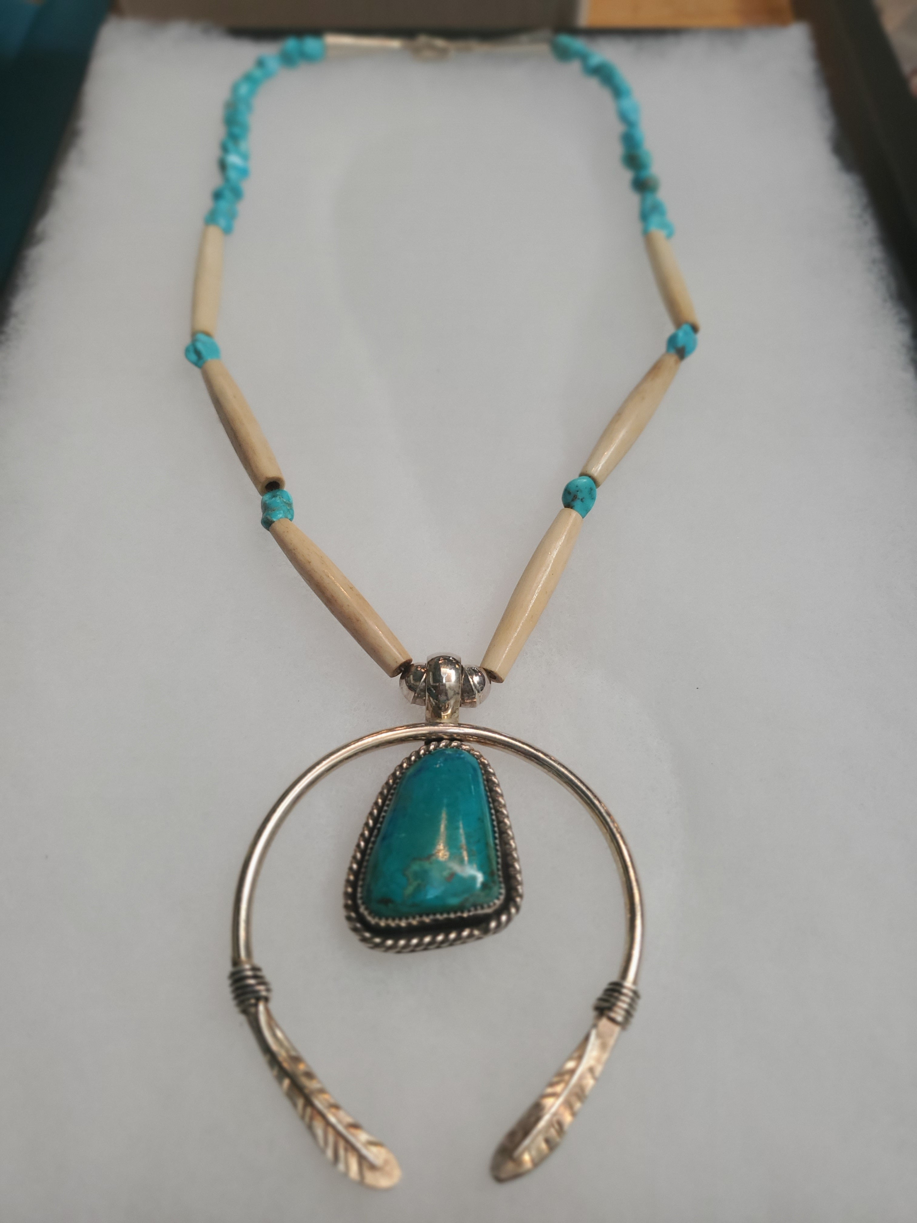 Feather Motif w/ Turquoise Necklace
