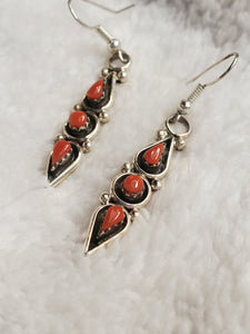 Coral Sterling Silver Tear Drop Earrings