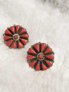 Coral Cluster Sterling Silver Stud Earrings